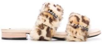No.21 faux fur trim slides