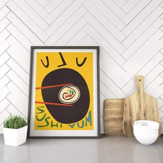 Fox & Velvet Retro Kitchen Sushi Print