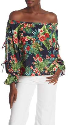 Lush Off-the-Shoulder Floral Tie Sleeve Blouse