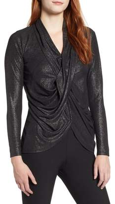 Chaus Shiny Ribbed Drape Front Top