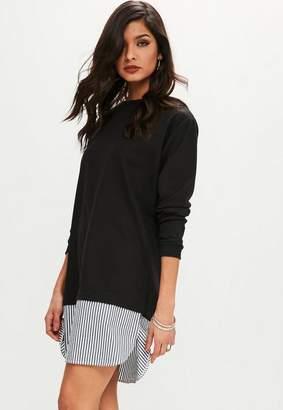 Missguided Black Long Sleeve Shirt Hem Sweatshirt Dress, Black