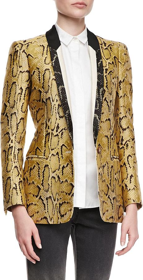 Stella McCartney One-Button Snake-Print Blazer, Chamomile