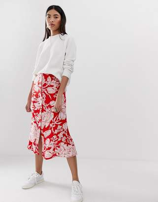 Asos Design DESIGN floral button front midi skirt with pleat back