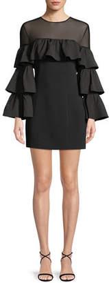 Cinq à Sept Valentina Ruffle Long-Sleeve Cocktail Dress