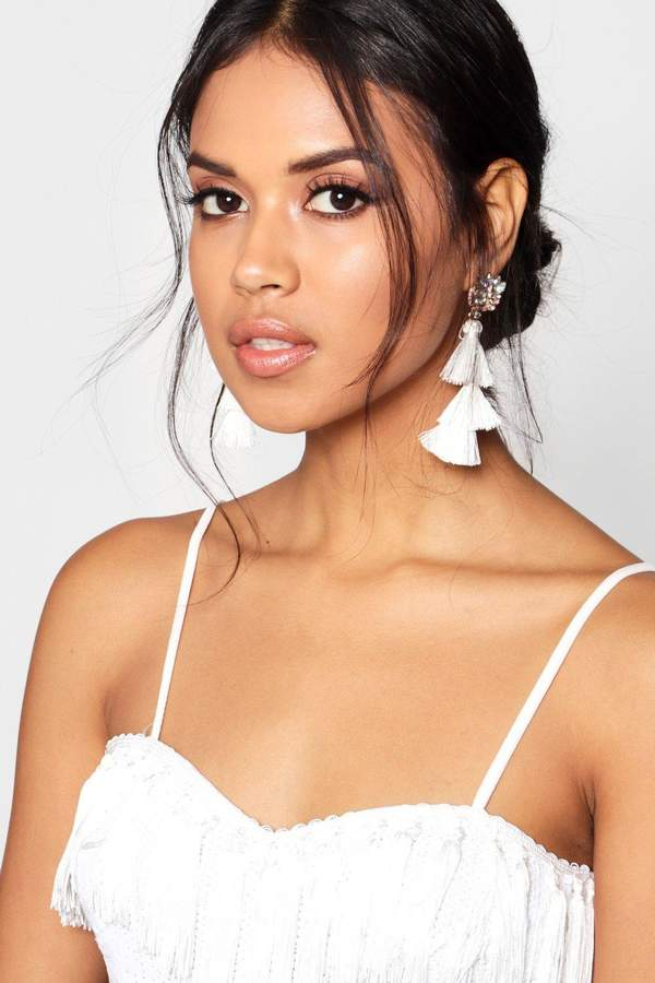 boohoo Diamante Cluster Tiered Tassel Earrings