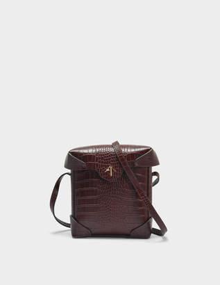 Atelier Manu Mini Pristine Bag in Reddish Brown Croc Print Calfskin