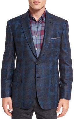 Brioni Plaid Two-Button Jacket, Gray/Blue $6,175 thestylecure.com