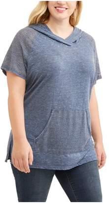 Mia Kaye Women's Plus Short Sleeve Hooded Sweatshirt