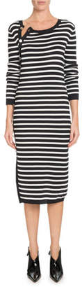 Altuzarra Button-Side Crewneck Long-Sleeve Striped Knit Sweaterdress