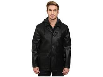 Kenneth Cole New York Faux Leather Moto w/ Hood Men's Coat
