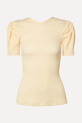 Maggie Marilyn Net Sustain Sweet Like Honey Knotted Cutout Ribbed Stretch Cotton-jersey Top - Ecru