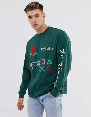 8e15319e Asos Design DESIGN Playstation oversized long sleeve t-shirt with chest and  sleeve placement print