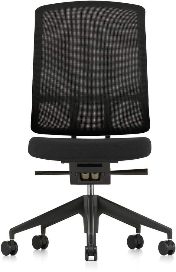 AM Chair, Rücken Schwarz, Sitz F30 Plano nero, Fünfstern-Untergestell Kunststoff Schwarz, ohne Armlehnen, Rollen für Teppichboden