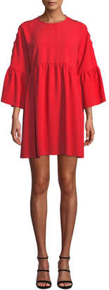 Pinko Slashed-Sleeve Flounce Short Babydoll Dress