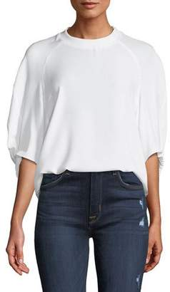 Tibi Savannah Crewneck Raglan Shirred-Sleeve Crepe Top