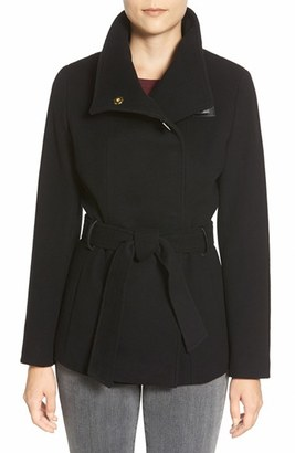 Women's Cole Haan Faux Leather Trim Belted Asymmetrical Coat $498 thestylecure.com