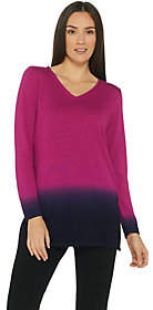 Belle by Kim Gravel V-Neck Dip Dye Long SleeveSweater