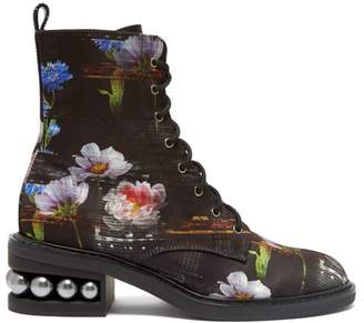 Nicholas Kirkwood Casati Floral Print Satin Lace Up Boots - Womens - Black Multi