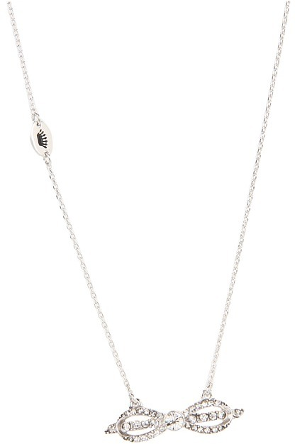 Juicy Couture Tied Up - Pave Bow Necklace (Silver) - Jewelry