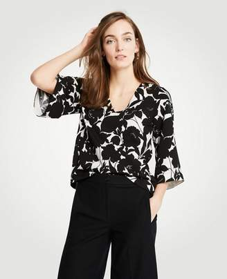 Ann Taylor Petite Floral Flare Sleeve Top