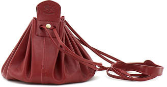 Il Bisonte Drawstring Leather Crossbody Pouch Bag, Red
