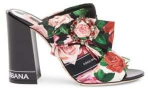 Dolce & Gabbana Floral Block Heel Mules