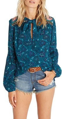 Women's Billabong Birds On High Print Tie Neck Blouse $49.95 thestylecure.com