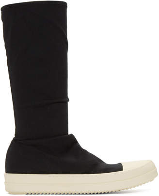 Rick Owens Black and Off-White Sock High-Top Sneakers