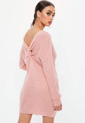 Missguided Pink Fluffy Twist Back Sweater Dress