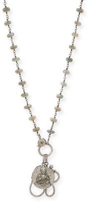 Sheryl Lowe Labradorite Wire Wrap Necklace with Diamond Pave Om and Buddha Pendant