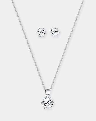 Swarovski Jewelry Set 925 Sterling Silver Classic Crystals