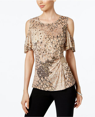 MSK Cold-Shoulder Embellished Blouse $49 thestylecure.com