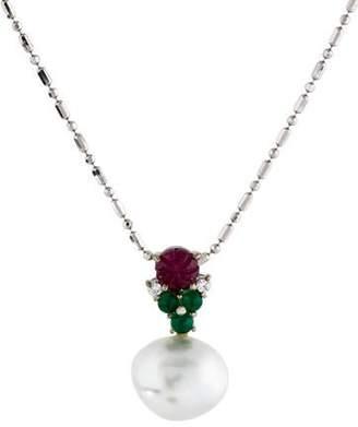 14K Pearl, Ruby & Diamond Pendant Necklace