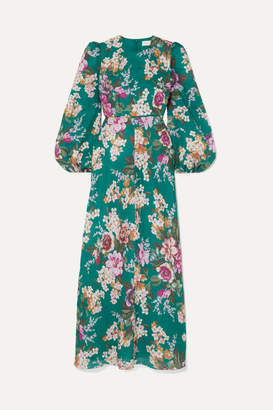 Zimmermann Allia Floral-print Linen Maxi Dress - Emerald
