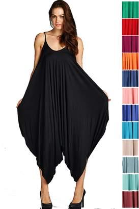 Fashion Secrets Solid Women Harem Overall Summer Spagehtti Straps Jumpsuit Romper