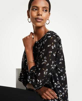 Ann Taylor Petite Floral Ruffle Flare Sleeve Blouse
