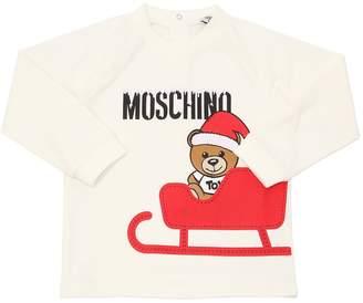 Moschino Logo Christmas Printed Cotton T-Shirt