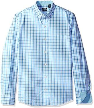 Izod Men's Premium Essential Tattersal Long Sleeve Shirt (Regular and Slim Fit)
