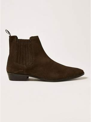 Topman Mens Brown Suede Trail Chelsea Boots