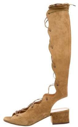 Saint Laurent Suede Lace-Up Sandals