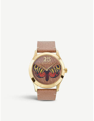 Gucci YA1264063 G-Timeless gold PVD and leather watch