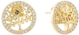 Sterling Silver Cz Tree Of Life Stud Earrings