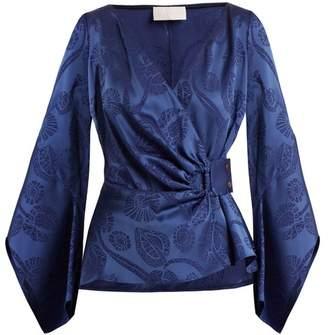 Peter Pilotto Floral Jacquard Satin Top - Womens - Blue Print