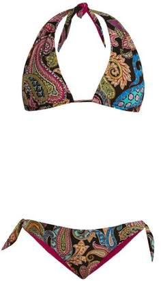 Etro Abstract Paisley Print Bikini - Womens - Black Multi