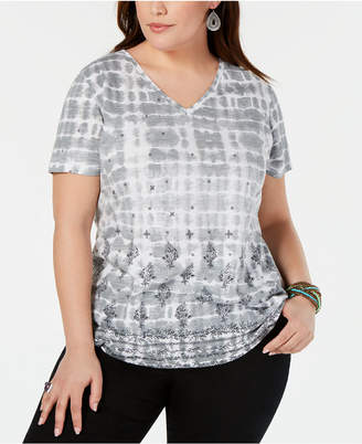 Style&Co. Style & Co Plus Size Cotton Printed V-Neck T-Shirt