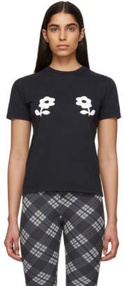 ALEXACHUNG Black Double Daisy T-Shirt