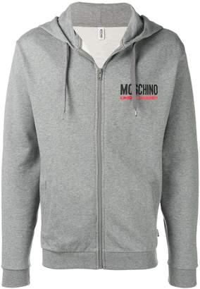 Moschino chest logo zip hoodie