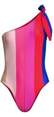 Paper London One-Shoulder Rainbow One-Piece Swimsuit