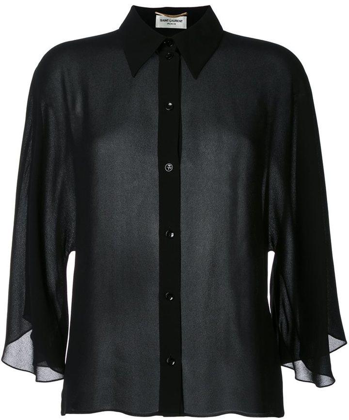Saint LaurentSaint Laurent semi-sheer cropped shirt