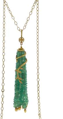 Cathy Waterman Emerald Tassel Vine Charm